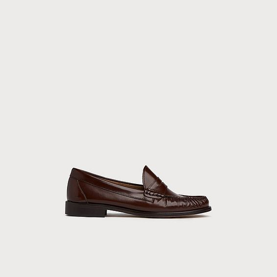 Rhea Brown High Shine Leather Flats