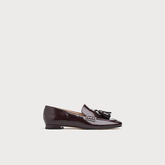 Rumi Wine High Shine Leather Flats