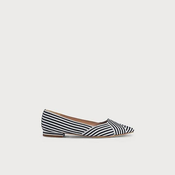 Savannah Navy Striped Pointed Toe Flats