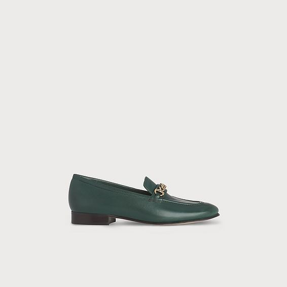 Stevie Green Leather Flats