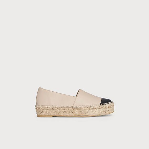 Talia Nude Leather Espadrille Flats