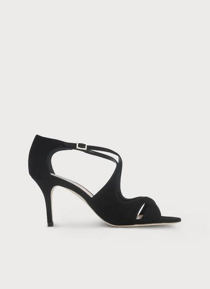 Blossom Black Suede Sandals