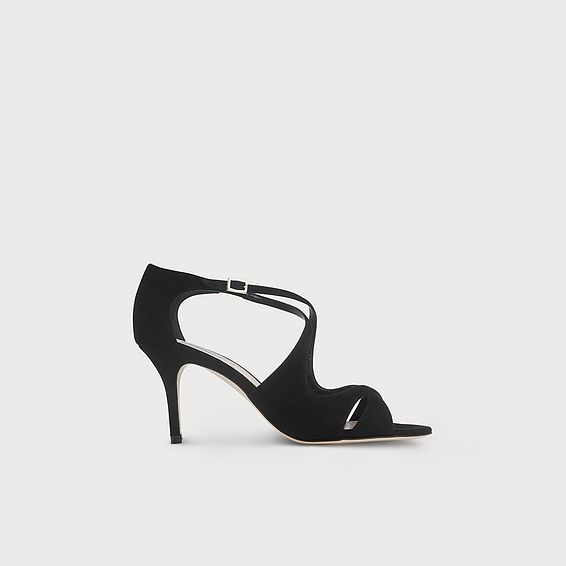 Blossom Black Suede Sandals