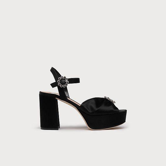 Eline Black Satin Sandals