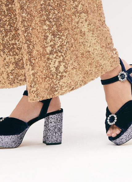 Eline Navy Velvet Sandals
