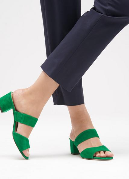 Elysia Green Suede Sandals