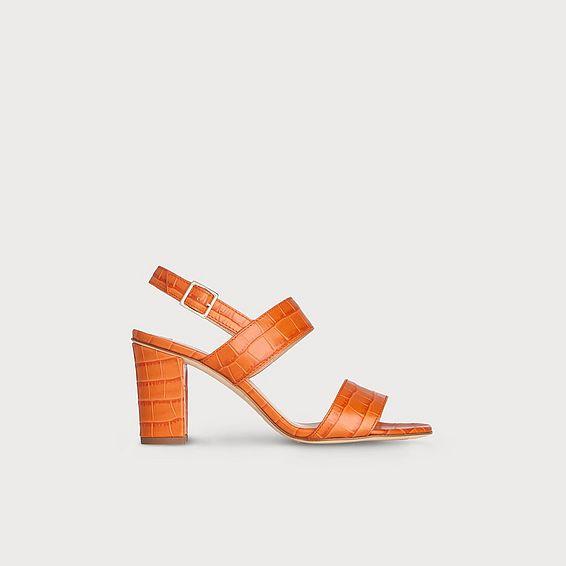 Rhiannon Tangerine Croc Effect Sandals
