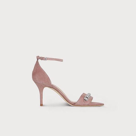 Valora Dark Pink Suede Sandals