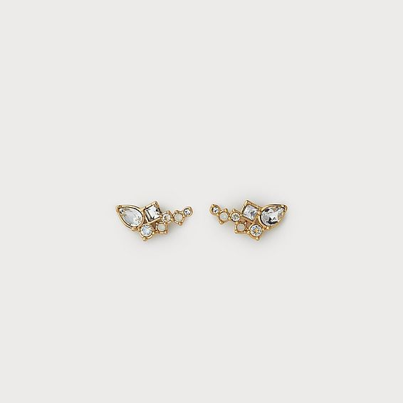 Phoebe White Crystal Pierced Earrings