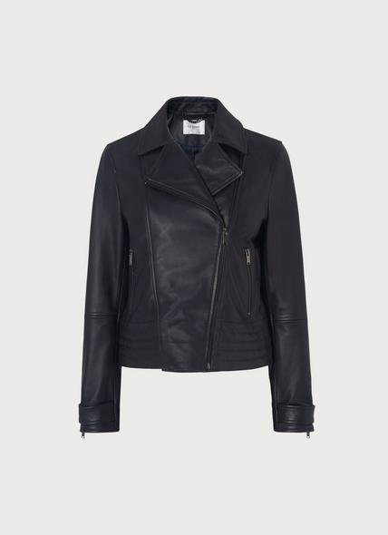 Amabel Navy Leather Jacket