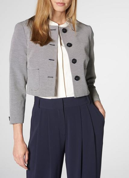 Mableen Navy Cream Cotton Jacket