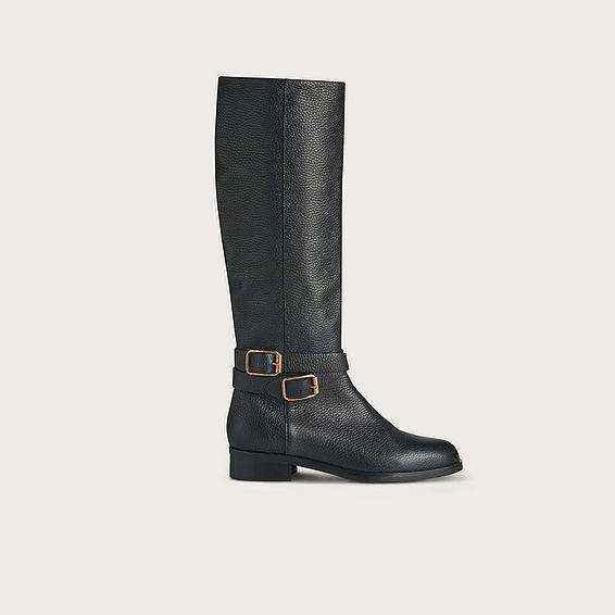 Brogan Black Leather Knee Boots