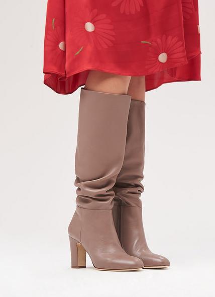 Kristen Nude Leather Knee Boots