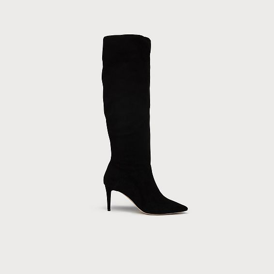Zena Black Suede Knee Boots