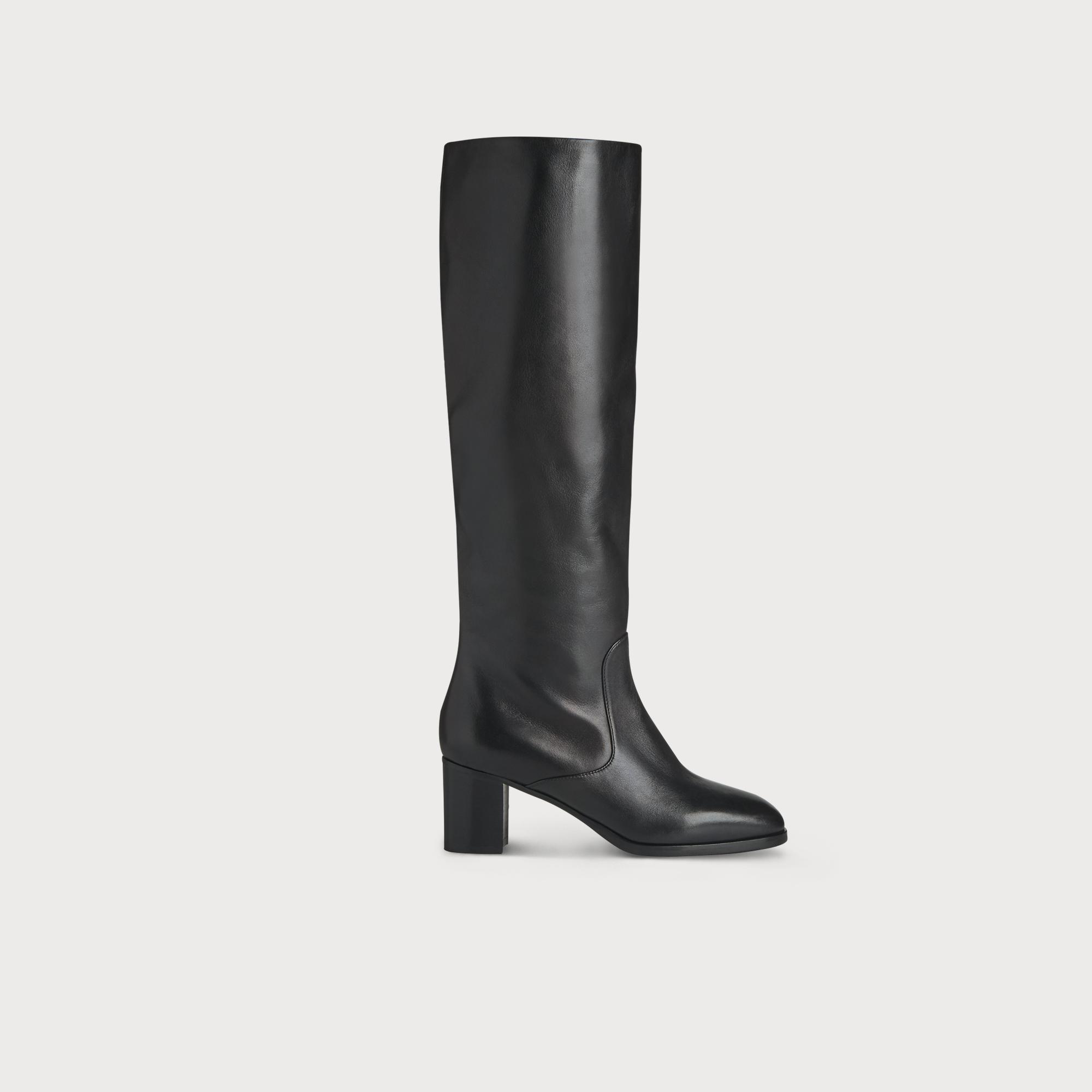 Ammy Black Leather Knee Boots