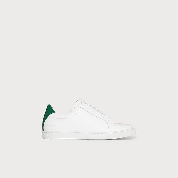 Jack Green White Leather Lace Up Trainers