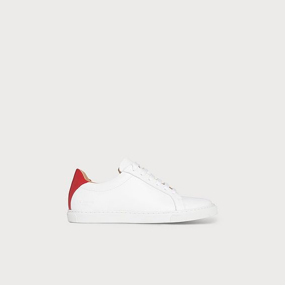 Jack Red White Leather Lace Up Trainers