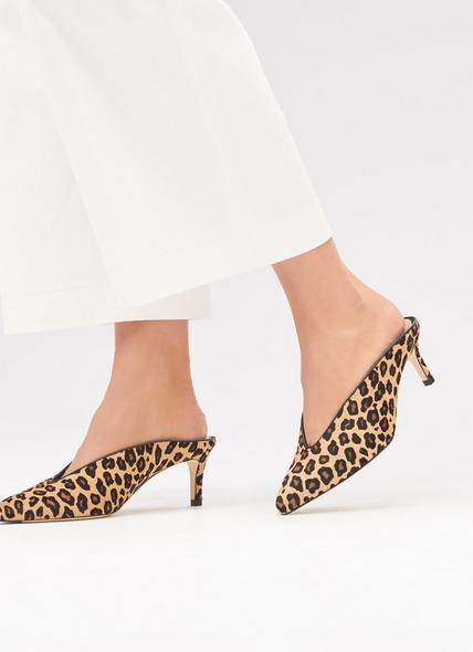 Celia Leopard Print Calf Hair Mules