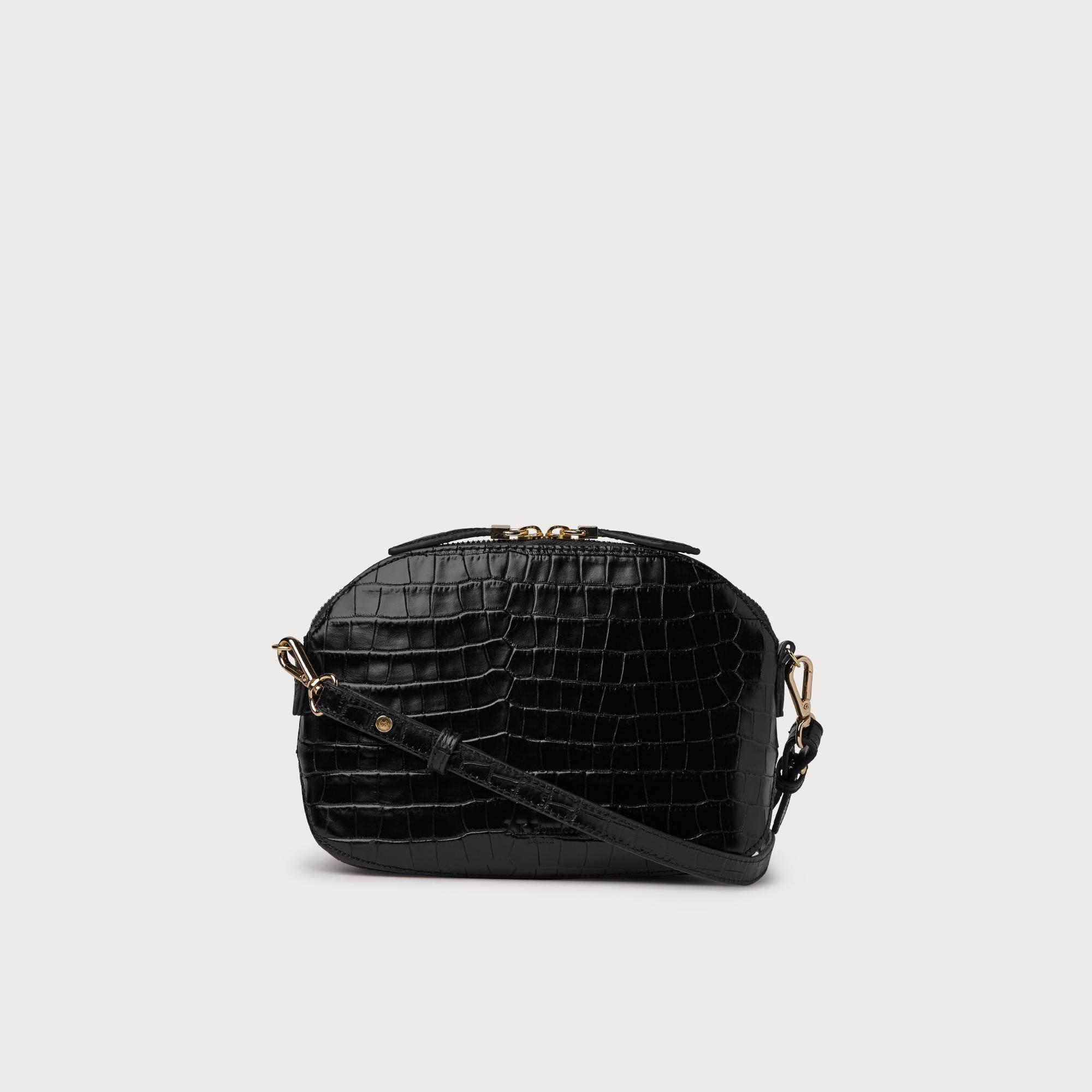 Candice Black Croc Effect Shoulder Bag