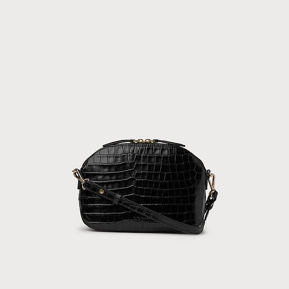 Candice Black Croc Effect Shoulder Bag