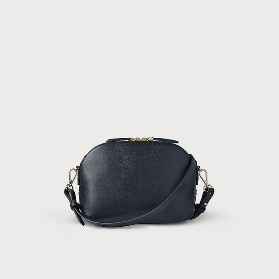 Candice Navy Leather Shoulder Bag