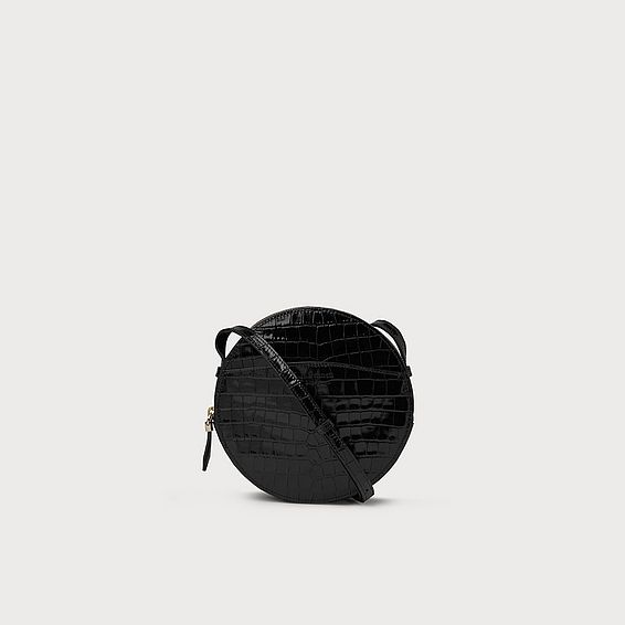 Luna Black Croc Effect Shoulder Bag