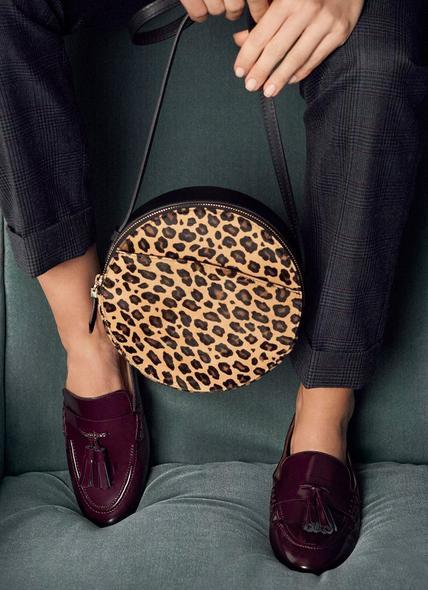Luna Leopard Print Calf Hair Shoulder Bag