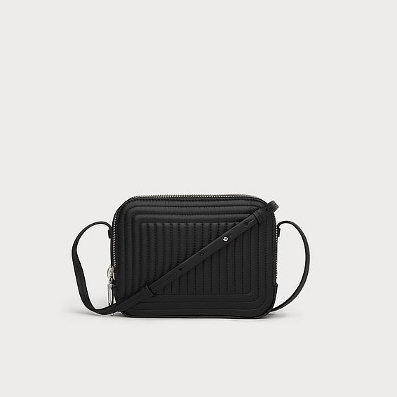 Mariel Black Leather Shoulder Bag