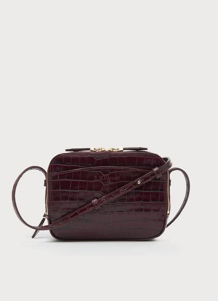 Mariel Wine Croc Effect Shoulder Bag