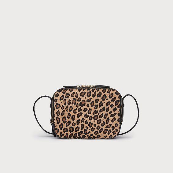 Mariel Leopard Print Calf Hair Shoulder Bag
