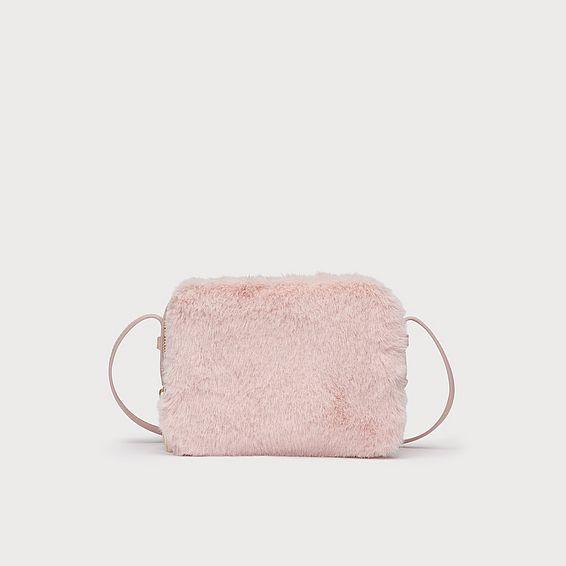 Mariel Pink Faux Fur Shoulder Bag