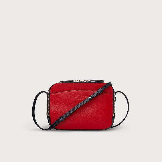 Mariel Red Blue Leather Shoulder Bag