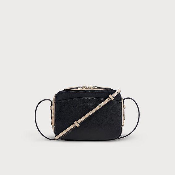 Mariel Taupe Black Leather Shoulder Bag