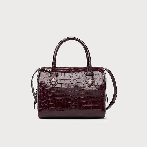 Melanie Wine Croc Effect Shoulder Bag