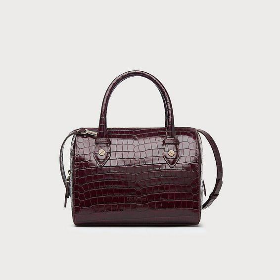Melanie Wine Croc Effect Shoulder Bag