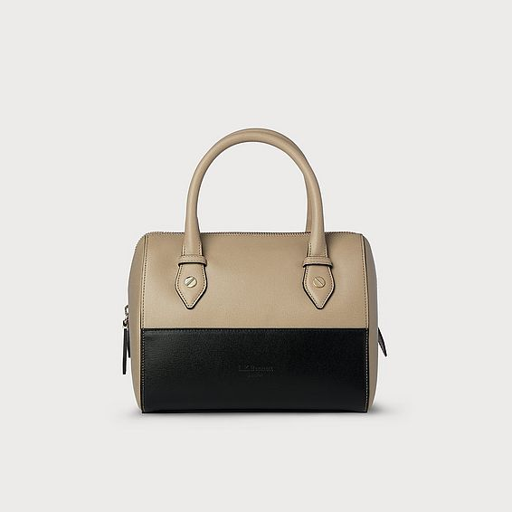 Melanie Taupe Black Leather Shoulder Bag
