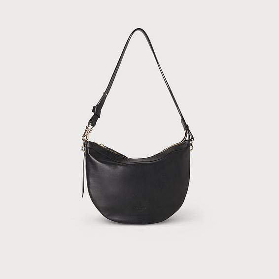Sophia Black Leather Shoulder Bag