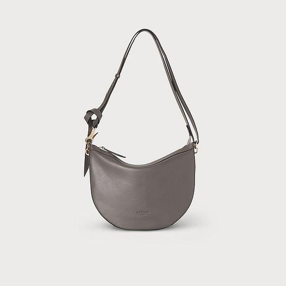 Sophia Grey Leather Shoulder Bag