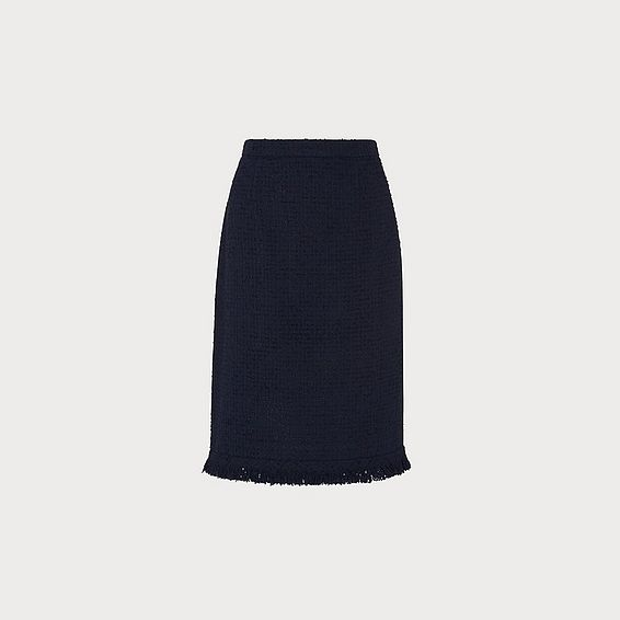 Myia Navy Tweed Skirt