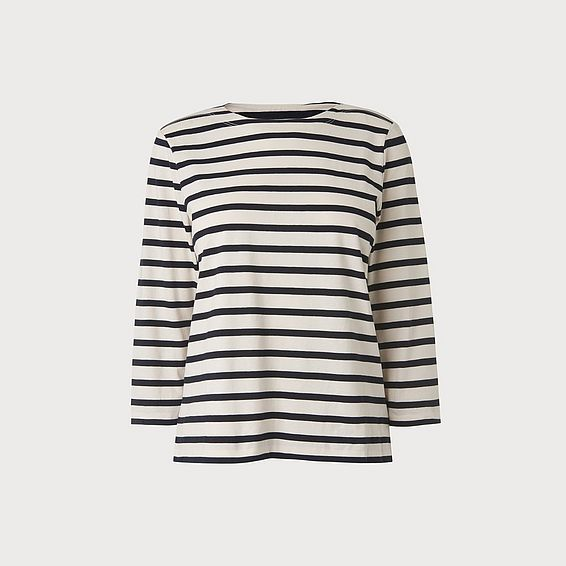 Trin Navy Cream Cotton Jersey Top