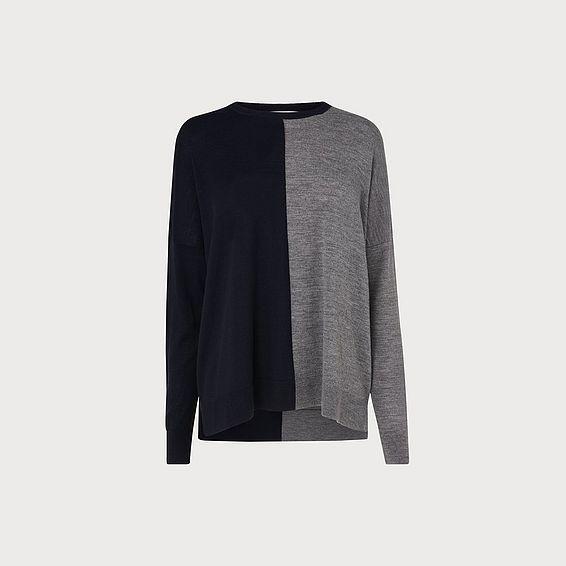 Fraya Grey Blue Merino Wool Jumper