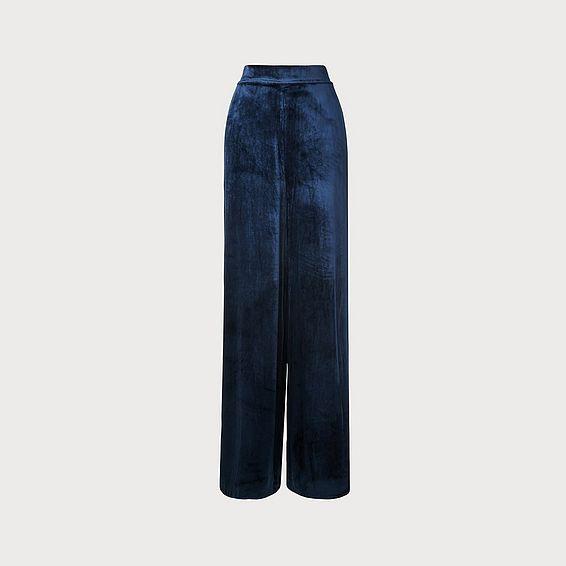Noemi Navy Velvet Trouser