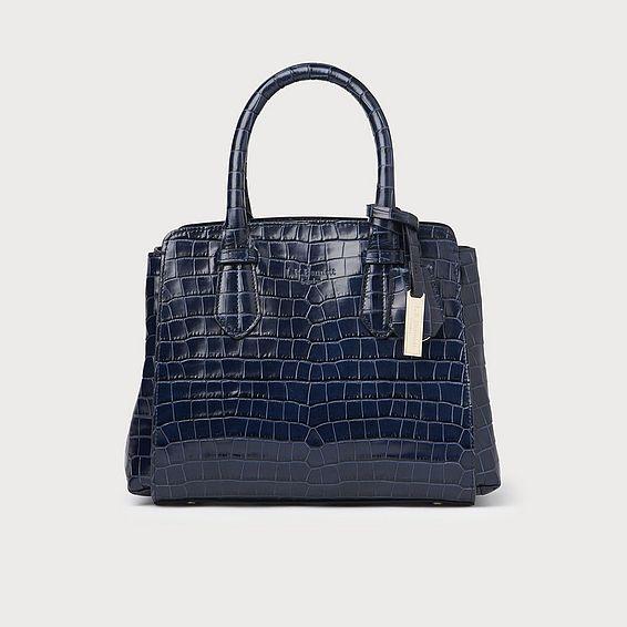 Cassandra Navy Croc Effect Tote Bag