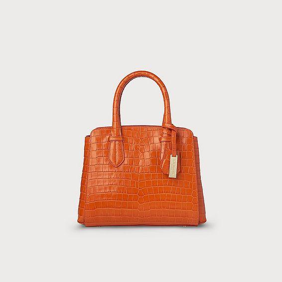 Cassandra Orange Croc Effect Bag