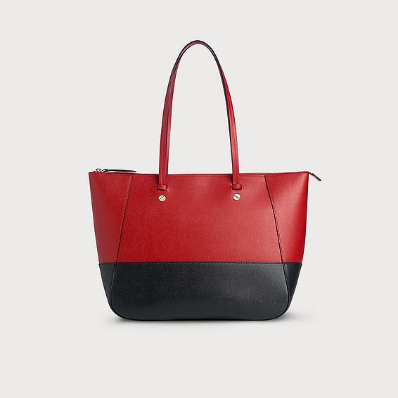 Marcia Red Blue Leather Tote Bag