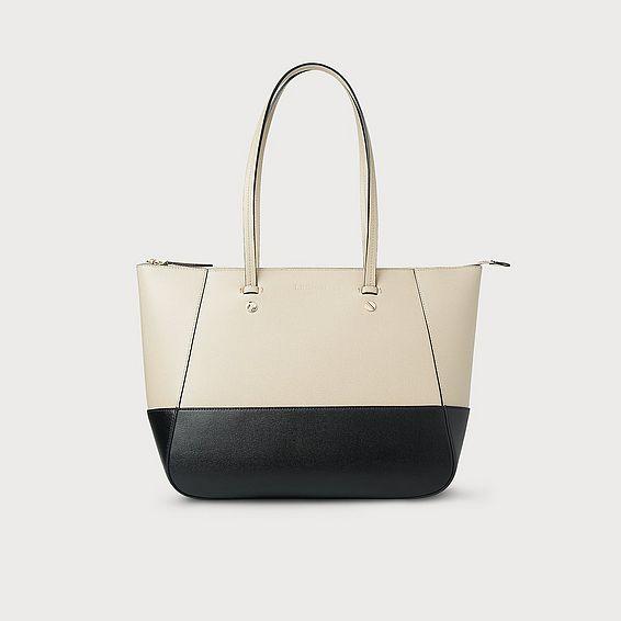 Marcia Taupe Black Leather Tote Bag