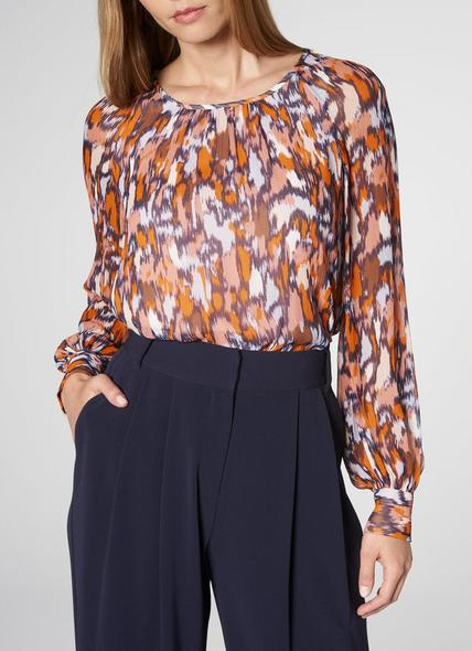 Agnes Orange Silk Blouse