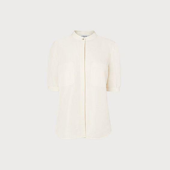 Eilana Cream Linen Silk Blouse