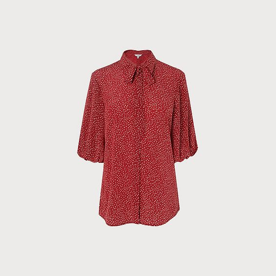 Tillila Red Silk Blouse