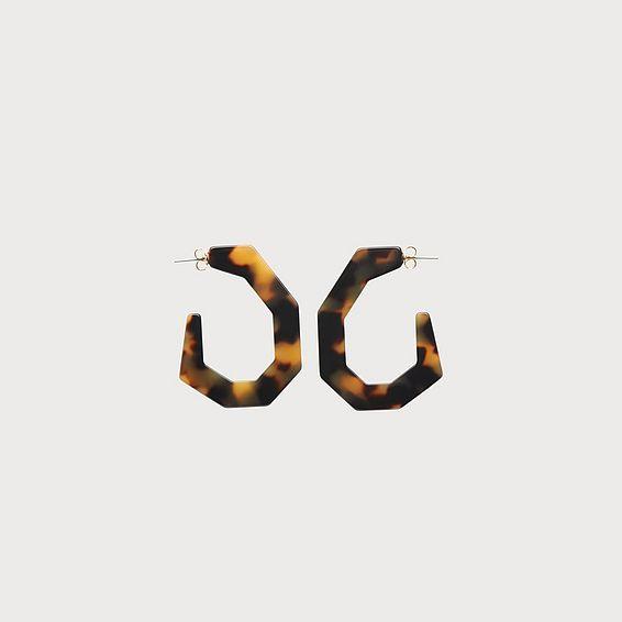 Gaby Tortoiseshell Resin Hexagon Hoop Earrings